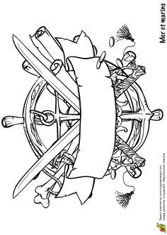 Dessin à colorier du logo terrifiant d'un ancien pirate                                                                                                                                                                                 Plus