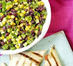 Bean and corn salsa This fresh, tangy side dish will be the perfect addition to any barbecue Best Barbecue Sauce, Barbecue Pork Ribs, Homemade Barbecue Sauce, Barbecue Recipes, Vegetarian Lunch, Vegetarian Recipes, Savoury Recipes, North Carolina Barbecue Recipe, Black Bean Corn Salsa
