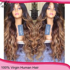 "20"" $299.00! Full Lace Virgin Hair wig curly black hair, Buy Quality wig short hair directly from China hair lace front wigs Suppliers: Free Shipping150% Heavy Density Three Tone Ombre Full Lace Human Hair Wigs Wavy/Brazilian Lace Front Wigs For Black"