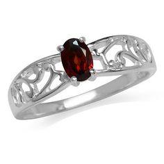 Natural Garnet 925 Sterling Silver Filigree Solitaire Ring SZ 6 Garnet Stone, Sterling Silver Filigree, Solitaire Ring, Natural, Rings, Ring, Jewelry Rings, Nature, Au Natural
