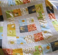 "Storytime Squares Baby Quilt / cute for a boy / 46"" x 46"" / pieced / FREE QUILTING pattern"