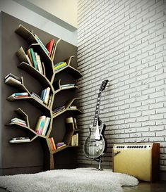 Ezyshine has bought the creative contemporary bookshelves design ideas that can fit on the walls, save the space & can give a sleek look to the home interior. These contemporary bookshelves design can make your home colourful & scenic. Tree Bookshelf, Tree Shelf, Book Shelves, Bookshelf Ideas, Book Storage, Bookshelf Design, Tree Wall, Wall Shelves, Storage Ideas
