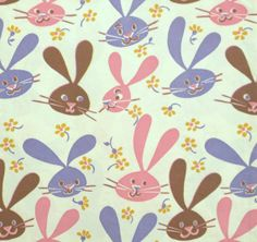 Vintage easter wrapping paper by the yard vintage easter reserved vintage easter gift wrap wrapping paper mod bunnies 1960s negle Choice Image