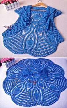 Crochet Sweaters: Crochet Circle Sweater Pattern – Beautiful – Crochet World Crochet Circle Vest, Crochet Bolero Pattern, Cardigan Au Crochet, Crochet Circles, Crochet Jacket, Crochet Sweaters, Beau Crochet, Pull Crochet, Crochet Diy
