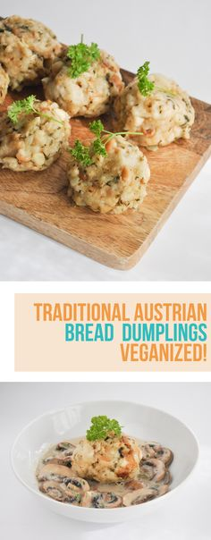 Bread Dumplings are traditional Austrian dumplings made with dried bread cubes. These dumplings are often served with goulash or other similar stews. Vegan Foods, Vegan Dishes, Vegan Vegetarian, Vegetarian Recipes, Cooking Recipes, Vegan Recipes Plant Based, Best Vegan Recipes, Veggie Recipes, Bread Dumplings Recipes