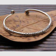 Fine Silver Handmade Helix Ends Cuff Bracelet