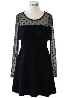 Black Polka Dots Mesh Dress with Ruffle Trim - New Arrivals - Retro, Indie and Unique Fashion