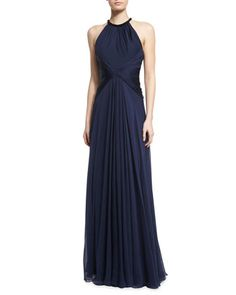 Beaded-Neck Sleeveless Flowy Silk Gown by Carmen Marc Valvo at Neiman Marcus. $1195