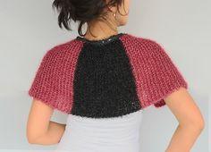 Burgundy Capelet Shoulder Wrap Cozy Knit Cape by mammamiaeme