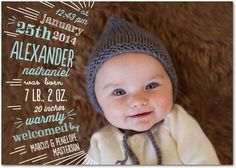 Cutely Curved: Surf - Winter Boy Birth Announcements in Surf | Baumbirdy