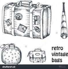 Vintage Suitcase Sketch vintage vector hand drawing set of suitcase and bags