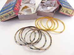 2 Sets VTG INDIA Handmade GLASS BANGLE BRACELETS Original GUPTA Boxes SMALL SIZE #Handmade