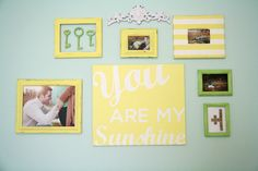 A sweet #GalleryWall with pictures and keepsakes for the #nursery.
