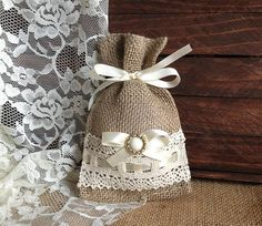 lace covered burlap favor bag wedding bridal shower by PinKyJubb, $3.50