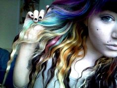 multicolor scene hair | multi colored hair | Tumblr
