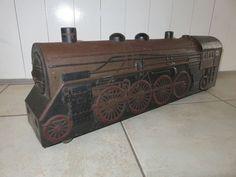 vintage biscuit tin train