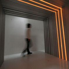 lighting in wall/ceiling. Aluminum house by Atelier Tekuto