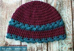 Free Crochet Pattern  I Feel Pretty – Women's Crochet Hat  Yarn: Red Heart Soft Hook: 5.00 mm (H) Abbreviations:ch: chain, dc: double croch...