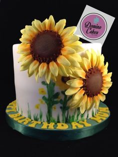 {A sunny Sunflower cake by Domino Cakes}