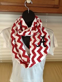 BACK IN STOCK!! University of Alabama Crimson Red and White Infinity Scarf by LilCsBoutique
