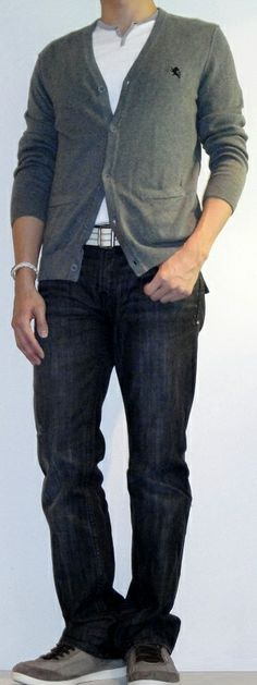 Men's Gray Cardigan White Slit Neck T-Shirt White Cotton Belt Black Jeans Gray Fashion Sneakers
