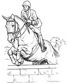 Girl Riding a Horse Coloring Page Realistic Drawing