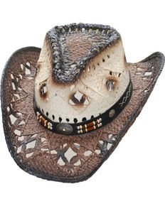 5cd785ede41d0 Western Express Women s Brown Pinch Front Straw Hat