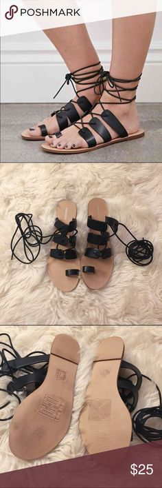FOREVER 21 Lace Up Gladiator Sandals (8) Black lace up gladiator sandals in size 8. Never worn but the bottoms are a little dirty from being on my garage floor. The top of the sandals are in excellent new condition.    Price is firm. Forever 21 Shoes Sandals