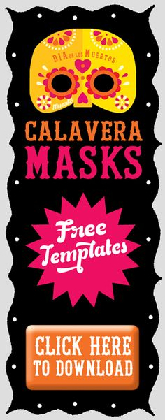 7 Free Calavera Sugar Skull Masks to download and make at home or as a fun school activity celebrating the Mexican festival Day of the Dead - https://happythought.co.uk/day-of-the-dead/mask-craft-calavera-templates