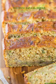 Zucchini Banana Bread - Soft, super moist, easy, no mixer needed! Jazz up regular banana bread by adding zucchini and it's healthier, too!! (Great recipe to save for when your garden is over-flowing with zucchini!)