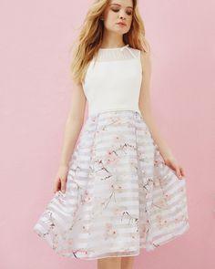 Oriental Blossom mesh detail dress - Light Gray | Dresses | Ted Baker