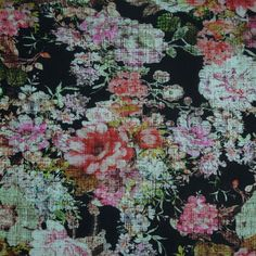 Floral Printed Crosshatch Jersey
