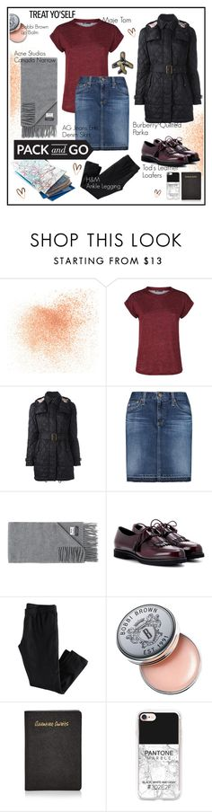 """""""Winter Getaway"""" by kipermatasari ❤ liked on Polyvore featuring Eve Lom, Maje, Burberry, AG Adriano Goldschmied, Acne Studios, Tod's, H&M, Bobbi Brown Cosmetics, Rebecca Minkoff and Casetify"""