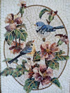 Marble Mosaic Handmade, Wall Art Birds Roman Mosaic, Home Decor Tiles Birds, Mosaic Panno Birds, Painting Birds Framed Mosaic
