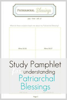 This is an awesome pamphlet about understanding Patriarchal Blessings!!
