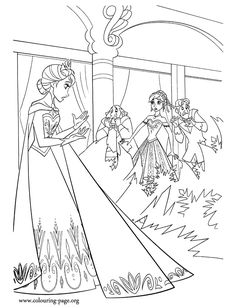 It Seems That Everyone In The Arendelle Kingdom Is Shocked By Elsas Ice Power Have Fun Coloring This Free Disney Frozen Movie Page