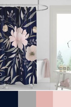 Modern Print Floral, Blush Pink and Navy Shower Curtain by meganmorrisart Navy Blue Bathroom Decor, Yellow Bathrooms, Bathroom Colors, Bathroom Ideas, Bathroom Pink, Guest Bathrooms, Master Bathroom, Navy Blue Shower Curtain, Floral Shower Curtains