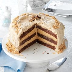Toffee Bar Brownie Torte Recipe -Heads will turn when you serve this showstopping cake. The mild espresso frosting nicely complements the bittersweet brownie layers. Bake Sale Recipes, Cake Recipes, Dessert Recipes, Cheese Recipes, Just Desserts, Delicious Desserts, Holiday Desserts, Torte Recipe, Recipe Box