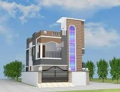 elevations of independent houses కోసం చిత్ర ఫలితం 3d House Plans, Indian House Plans, Front Elevation Designs, House Elevation, Building Plans, Building A House, Building Ideas, Duplex Plans, Beautiful Small Homes