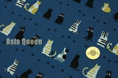 Cats and cat footprints  half yard  cotton by AsiaQueencottonshop
