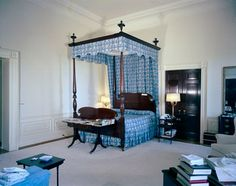 JFKs bedroom in the White House in 1962 - it was later turned into a living room for the residence quarters