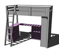 Diy desk decor for teens ana white 46 Best ideas Loft Bed Desk, Build A Loft Bed, Loft Bed Plans, Murphy Bed Plans, Loft Beds For Small Rooms, Loft Beds For Teens, Ana White, White Loft Bed, Diy Room Decor For Teens