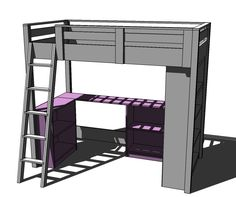 Ana White   Build a Loft Bed Small Bookcase and Desk   Free and Easy DIY Project and Furniture Plans
