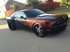 Custom Flames On Cars | dodge challenger srt8 wide body ghost flames custom black red 2009, US ...