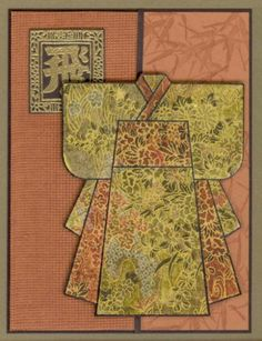 Kimono card in golds, greens, dusty coral Japanese Quilt Patterns, Japanese Quilts, Japanese Paper, Japanese Fabric, Japanese Style, Hand Made Greeting Cards, Making Greeting Cards, Greeting Cards Handmade, Asian Crafts