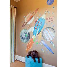Retro Rocket Fabric Wall Decal Set - #7Y504 | www.lampsplus.com