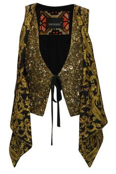 Sabyasachi- Black and gold floral sequins, beads and zardozi embroidered knotted jacket available only at Pernia's Pop Up Shop.