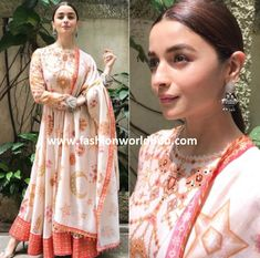 Alia Bhatt recently spotted in statement floor length anarkali gown by Tarun Tahilaini and she further enhanced her look with statement ear rings by Sangeeta Boochra and she completed her look with silver heels and center parted bun. Simple Kurti Designs, Stylish Dress Designs, Blouse Designs, Lovely Dresses, Stylish Dresses, Indian Bridal Outfits, Wedding Outfits, Bridal Dresses, Anarkali Gown