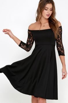 Central Square Black Lace Midi Dress