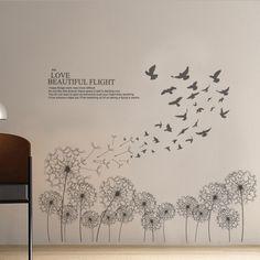 Elegant Dandelion Birds English Letters Wall Decal Home Sticker Paper Art Picture DIY Murals kids Nursery Baby Room Decoration